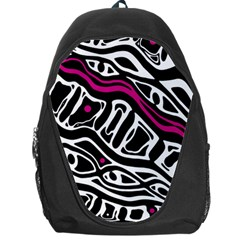 Magenta, black and white abstract art Backpack Bag