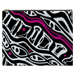 Magenta, black and white abstract art Cosmetic Bag (XXXL)
