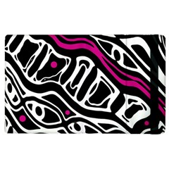 Magenta, black and white abstract art Apple iPad 3/4 Flip Case