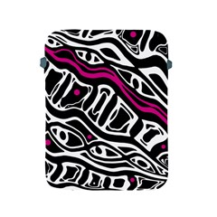 Magenta, black and white abstract art Apple iPad 2/3/4 Protective Soft Cases
