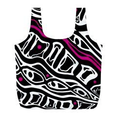 Magenta, black and white abstract art Full Print Recycle Bags (L)
