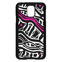 Magenta, black and white abstract art Samsung Galaxy S5 Case (Black)