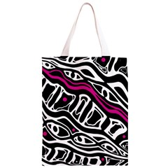 Magenta, black and white abstract art Classic Light Tote Bag