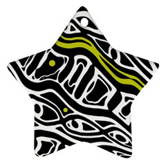 Yellow, black and white abstract art Ornament (Star)