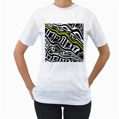 Yellow, black and white abstract art Women s T-Shirt (White) (Two Sided)