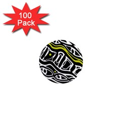 Yellow, black and white abstract art 1  Mini Magnets (100 pack)