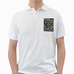 Yellow, black and white abstract art Golf Shirts