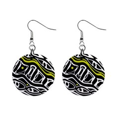 Yellow, black and white abstract art Mini Button Earrings