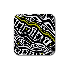 Yellow, black and white abstract art Rubber Coaster (Square)