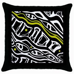 Yellow, black and white abstract art Throw Pillow Case (Black)