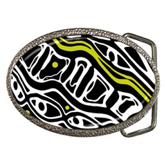 Yellow, black and white abstract art Belt Buckles