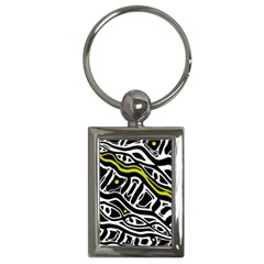 Yellow, black and white abstract art Key Chains (Rectangle)