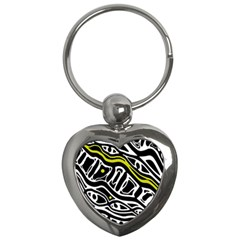 Yellow, black and white abstract art Key Chains (Heart)