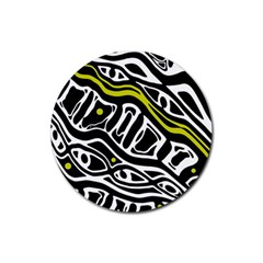 Yellow, black and white abstract art Rubber Round Coaster (4 pack)