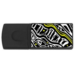 Yellow, black and white abstract art USB Flash Drive Rectangular (1 GB)