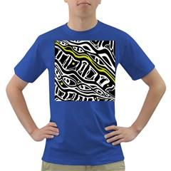 Yellow, black and white abstract art Dark T-Shirt