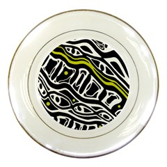 Yellow, black and white abstract art Porcelain Plates
