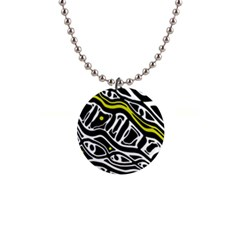 Yellow, black and white abstract art Button Necklaces