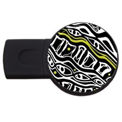 Yellow, black and white abstract art USB Flash Drive Round (4 GB)
