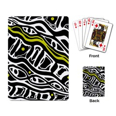 Yellow, black and white abstract art Playing Card