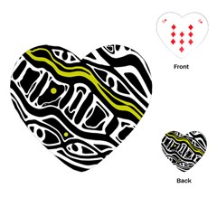 Yellow, black and white abstract art Playing Cards (Heart)
