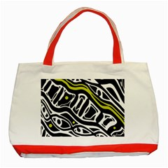 Yellow, black and white abstract art Classic Tote Bag (Red)