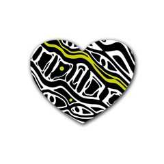 Yellow, black and white abstract art Rubber Coaster (Heart)