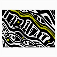 Yellow, black and white abstract art Large Glasses Cloth (2-Side)
