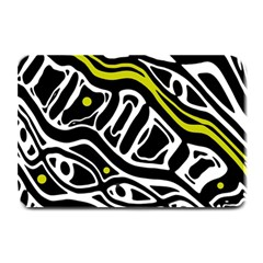 Yellow, black and white abstract art Plate Mats