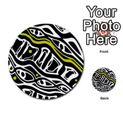 Yellow, black and white abstract art Multi-purpose Cards (Round)
