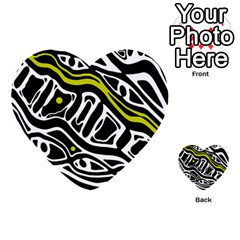 Yellow, black and white abstract art Multi-purpose Cards (Heart)