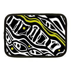 Yellow, black and white abstract art Netbook Case (Medium)
