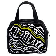 Yellow, black and white abstract art Classic Handbags (2 Sides)