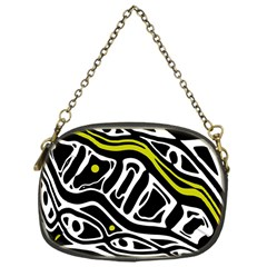 Yellow, black and white abstract art Chain Purses (One Side)