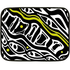 Yellow, black and white abstract art Double Sided Fleece Blanket (Mini)