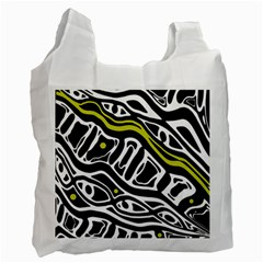 Yellow, black and white abstract art Recycle Bag (Two Side)