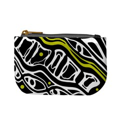 Yellow, black and white abstract art Mini Coin Purses