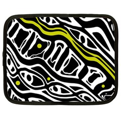 Yellow, black and white abstract art Netbook Case (XL)