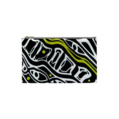 Yellow, black and white abstract art Cosmetic Bag (Small)