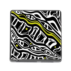 Yellow, black and white abstract art Memory Card Reader (Square)