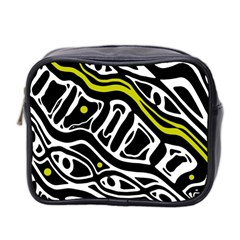 Yellow, black and white abstract art Mini Toiletries Bag 2-Side