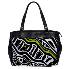 Yellow, black and white abstract art Office Handbags