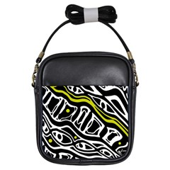Yellow, black and white abstract art Girls Sling Bags