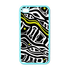 Yellow, black and white abstract art Apple iPhone 4 Case (Color)