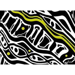 Yellow, black and white abstract art Birthday Cake 3D Greeting Card (7x5)