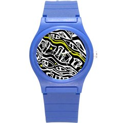 Yellow, black and white abstract art Round Plastic Sport Watch (S)