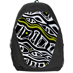 Yellow, black and white abstract art Backpack Bag