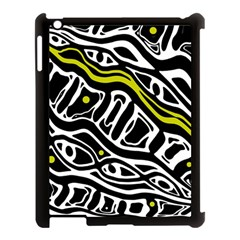 Yellow, black and white abstract art Apple iPad 3/4 Case (Black)