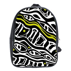 Yellow, black and white abstract art School Bags (XL)