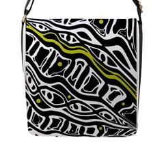 Yellow, black and white abstract art Flap Messenger Bag (L)